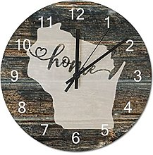 Wood Wall Clock Wisconsin With Home Americas Map