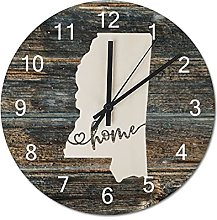 Wood Wall Clock With Home Americas Map Vintage