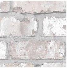 Woodchip & Magnolia Exposed Brick Wallpaper