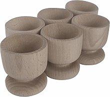 WooDeeDoo Set (6) Wooden Egg Cups | Medium 50 x 45