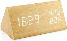 Wooden alarm clock, wooden digital desk clock with
