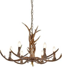 Wooden Antler Candle Light Chandelier - Stag