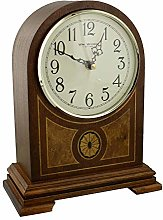 Wooden Arched Inlaid Case Quartz Mantel Clock With