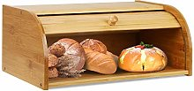 Wooden Bamboo Bread Bin Storage with Slatted Roll