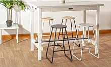 Wooden Bar Stool: White with Pine Seat / One