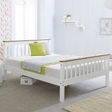 Wooden Bed Frame 4ft6 Double Devon White