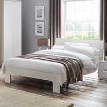 Wooden Bed Frame 4ft6 Double Manhattan White Gloss