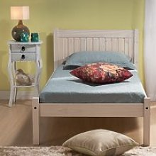 Wooden Bed Frame 4ft6 Double Rio White Washed