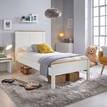 Wooden Bed Frame 4ft6 Double Vigo White and Oak