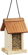 Wooden Birdhouse, Untreated, Hanging, No Stand, HxWxD: ca 27 x 17 x 18 cm, Brown - Relaxdays