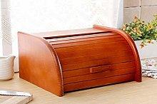Wooden Bread Bin with Roll Top or Drop Down Door