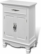 Wooden Cabinet with 2 Doors 1 Drawer White