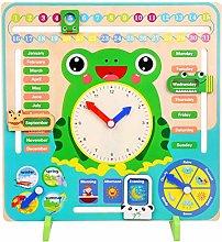 Wooden Calender Clock, Kids Frog Board Clock Toy,