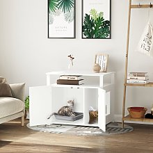 Wooden Cat Litter Box Enclosure Furniture with