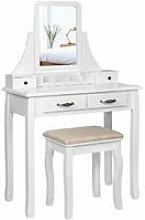 Wooden Coiffeuse with Mirror and Stool with 2