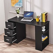 Wooden Computer Desk with 3 Drawers and 3 Open