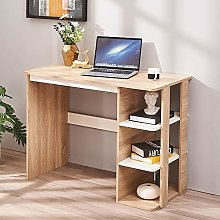 Wooden Computer Desk with 3 Open Shelves PC Laptop