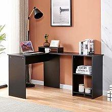 Wooden Computer Desk with Bookshelf, L-Shape