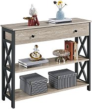 Wooden Console Sofa Table with Shelf Storage for
