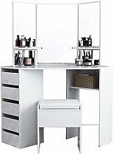 Wooden Corner Dressing Table Modern Vanity Makeup