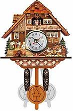 Wooden Cuckoo Patterned Wall Clock Quartz Pendulum
