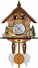 Wooden Cuckoo Patterned Wall Clock Retro Nordic