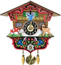 Wooden Cuckoo Wall Clock Swinging Pendulum