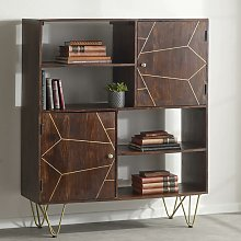 Wooden Dark Walnut 2 Door Bookcase Display Cabinet
