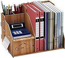 Wooden Desk Organiser Bookcase with Compartments
