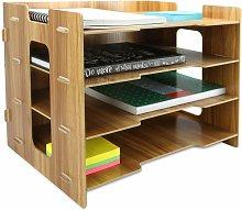 Wooden Desk Organiser Rectangle Brown - Pukkr