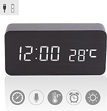 Wooden Digital Alarm Clock LED Light Acoustic