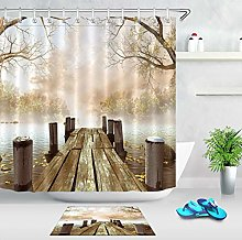 Wooden Dock Leaves Tree Branches Shower Curtain