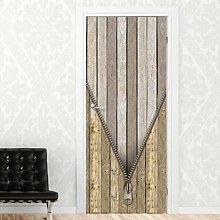 Wooden Door with Zipper Door Sticker East Urban