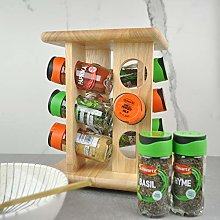 Wooden Filled Rotating Spice Carousal, 12 Jar