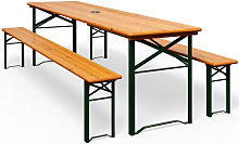 Wooden Folding Trestle Table and Bench Set 180cm