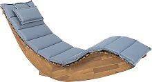Wooden Garden Sun Lounger with Cushion Blue BRESCIA