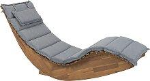 Wooden Garden Sun Lounger with Cushion Grey BRESCIA