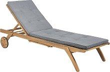 Wooden Garden Sun Lounger with Cushion Grey CESANA