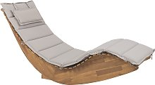 Wooden Garden Sun Lounger with Cushion Taupe