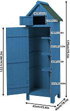 Wooden Garden Tool Shed 65x46x179 Blue Storage