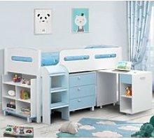 Wooden Kids Mid Sleeper Sleep Station Desk  Cabin