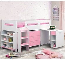 Wooden Kids Mid Sleeper Sleep Station Desk  Cabin