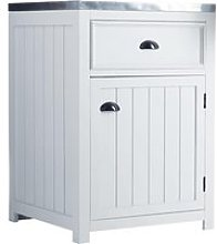 Wooden Kitchen Base Unit in White, Left-Opening