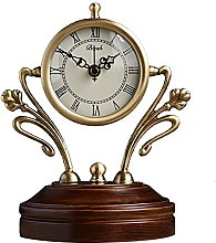 Wooden Mantle Clock Copper Shelf Clock Roman