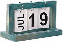 Wooden Manual Flip Desk Calendar Reusable Vintage