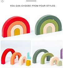 Wooden Montessori Toys Rainbow Arched Stacked