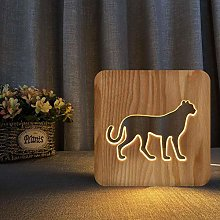 Wooden Night Light Hollow USB Table lamp Hollow