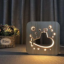 Wooden Night Light Hollow USB Table lamp Submarine