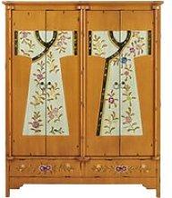Wooden printed wardrobe W 150cm Kimono