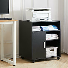 Wooden Printer Stand Office Side Table Rolling
